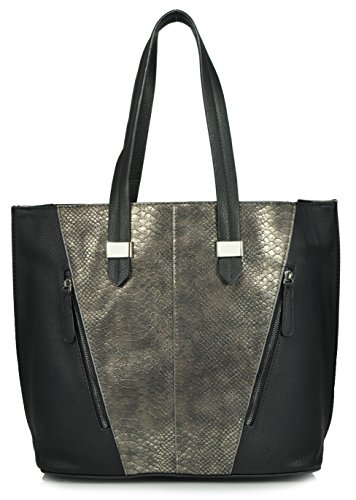 sr-squared-by-sondra-roberts-metallic-snake-and-nappa-tote-black-pewter