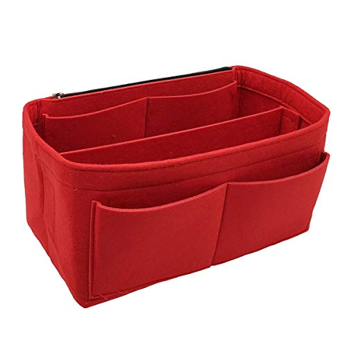 Felt Purse Bag Organizer Insert shaper 8022 Red XL - Bucket Felt