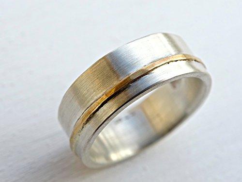 (viking wedding ring, mens wedding band gold silver, unisex wedding ring silver, gold silver ring two tone mixed metal ring silver gold inlay)