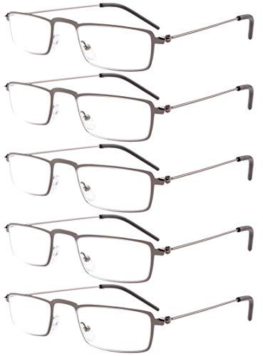 Eyekepper 5-Pack Straight Thin Stamped Metal Frame Half-eye Style Reading Glasses Readers Gunmetal +2.0 ()