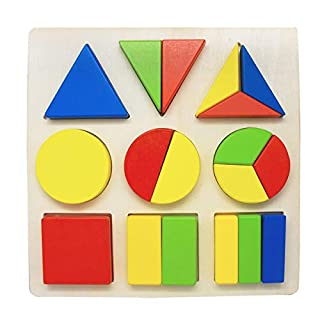 Wooden Shape Puzzles for Toddlers, Shape Color Recognition Puzzle Stacker, Preschool Educational Learning Puzzle Toys Gift for 1 2 3 Year Old Boys Girls