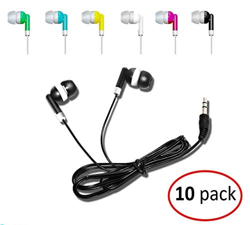 Wholesale Kids Bulk Earbuds Headphones (10-Pack) Earphones, 6 Assorted Colors, Individually Bagged, Perfect for School Students, Libraries, Hospitals by Deal Maniac