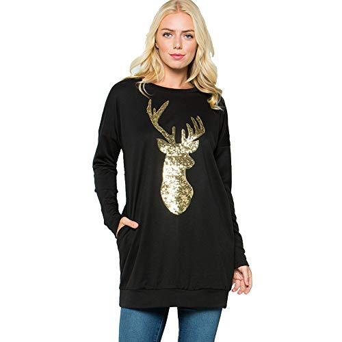 Liki Outdoor Cashmere Sweater Reindeer Embroidered Sequins Long-Sleeved Sweater