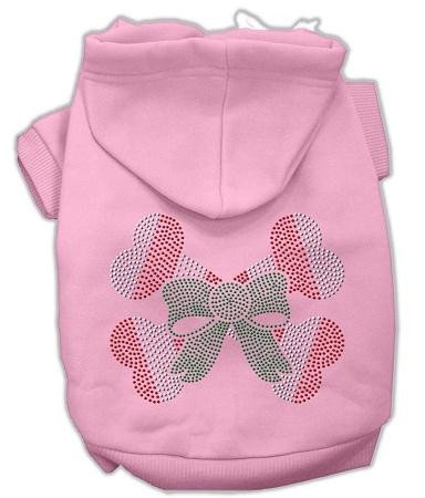 Mirage Pet Products 14-Inch Candy Cane Crossbones Rhinestone Hoodie, Large, Pink