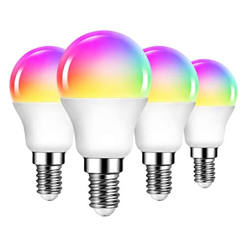 chollos oferta descuentos barato 4 Unidades 6W Bombillas Inteligentes Golf LED E14 RGB WiFi P45 Equivalente a 40W 470 Lúmenes Funciona con Alexa Google Home y Smart Life ANWIO