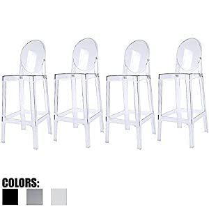 ... 25  Seat Height Barstool Modern Ghost Side Bar Stool Counter Stool - Accent Stool - Lounge No Arms Armless Arm Less Chairs Seats Mid Century Design  sc 1 st  Amazon.com & Amazon.com: 2xhome - Set of Four (4) - Clear - 25