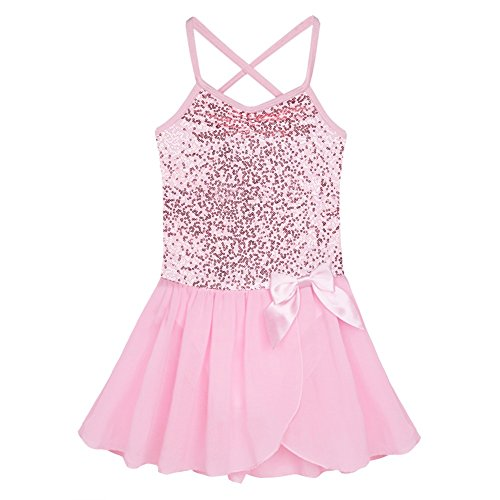 FEESHOW Girls Sequined Bow Leotard Dress Ballet Tutu Skirt Dance Costumes Pink 7-8 (Pink Dance Costume)