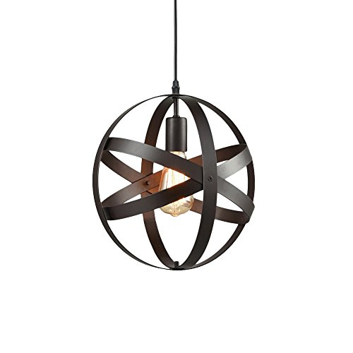 Industrial Spherical Pendant Light, Motent Vintage Metal Globe Chandelier Changeable Oil Rubbed Bronze Hanging Lighting Fixture for Boutique Outlet Showroom Art Gallery - 11.8 inches Dia