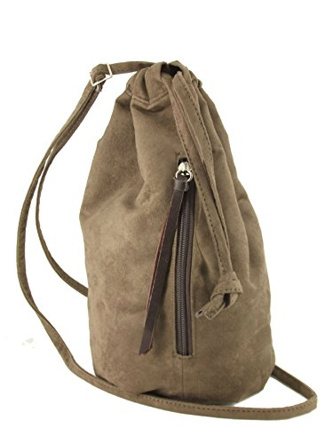 Faux Chocolate Backpack Handbag Suede LONI Brown Milk Drawstring w0tFxqP