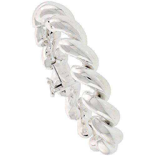 Sterling Silver Large San Marco Bracelet Italian 1/2 inch wide, 7 inch -