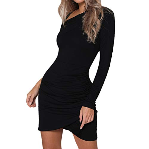 Landfox Hot SellingDress,Clothing Shoes, Women's Sexy Fashion Solid Color Wrap Temperament Mini Dress Black ()