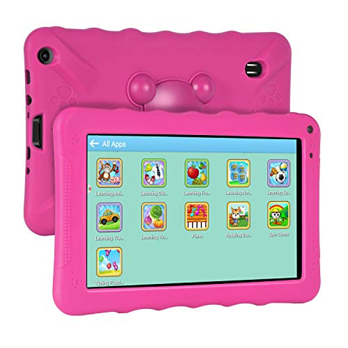XGODY 9 Inch Kids Tablets Android Tablet Quad Core 1GB RAM 16GB ROM with WiFi IPS HD Display Dual Camera Shockproof Silicon Case for Kids(Pink)