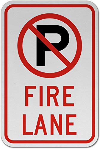 Traffic Signs - No Parking Fire Lane Sign 12 x 8 Aluminum Metal Sign Street Weather Approved Sign 0.04 Thickness