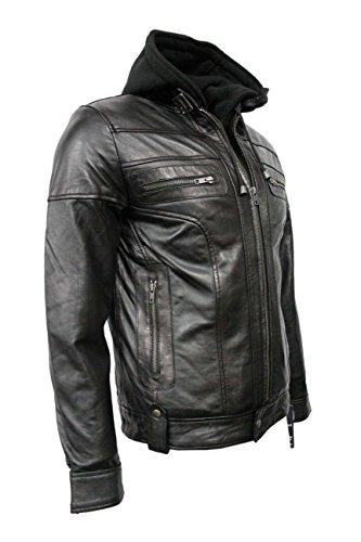CLARK Hommes Black Hooded Casual Stylish Designer Bikers Real Veste en cuir souple