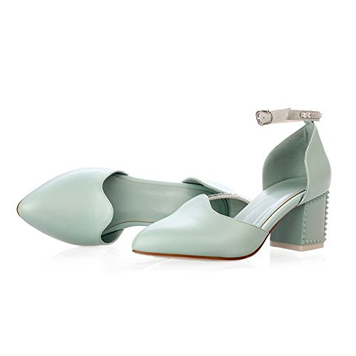 Leather Sandals AmoonyFashion Toe Buckle Solid heels Pointed Womens Kitten Blue Cow xzqAnz0wr