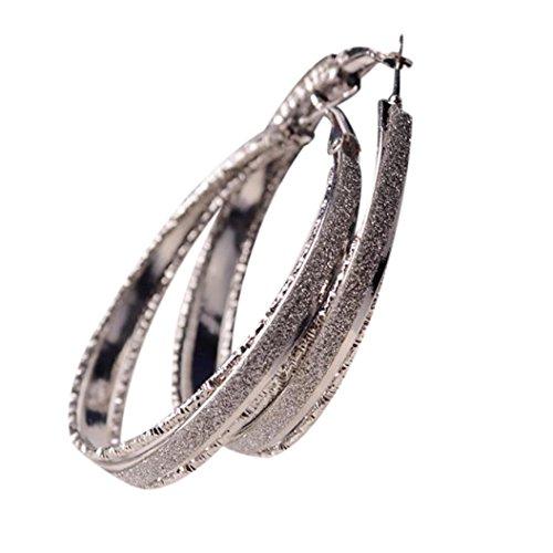 Lanhui Mothers Day Jewelry Big Hoop Earrings  Womens Dull Polish Drop Round Dangle  Silver  5 5Cmx 5Cm