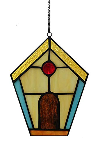 "Alivagar Stained Glass House Window Hangings Suncatcher Village, 6"" x 4 1/2"""