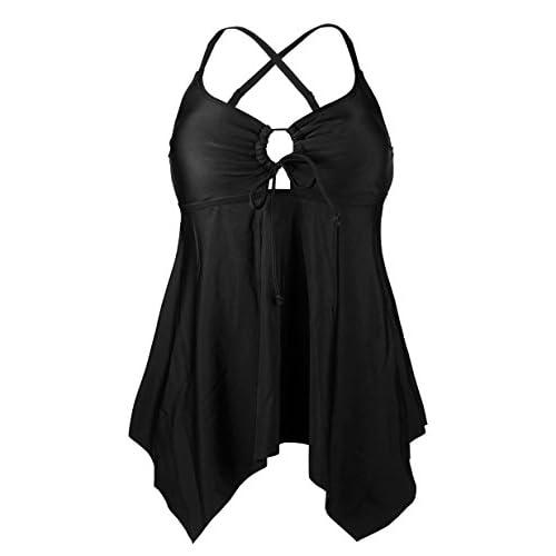 Cocoship Black Women's Handkerchief Hemline Swim Top V-neck Flowy Layered Tankinis Beachwear 8(FBA)