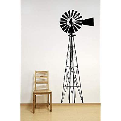 Windmill Decal Wind Mill Wall Decor Farm Home Art Nursery Farming Farmer Country Bedroom Decor Windmill Wall Decor Blades Head Base and Stick Made in USA: Kitchen & Dining