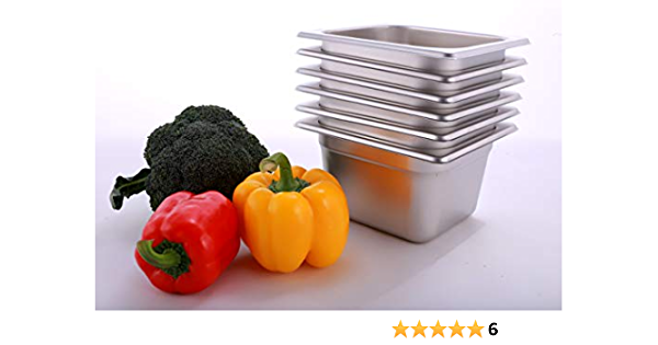1//6 GN 150 mm Pack of 5 Vogue Gastronorm Container Kit in Stainless Steel