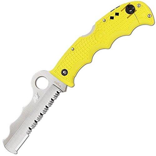 Spyderco Assist Salt Lightweight Handles Carbide Tip Combo Edge, Yellow - Spyderco Assist Black Blade