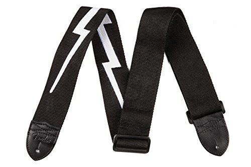 Fender 2-Inch Nylon Lightning Bolt Strap, Black ()
