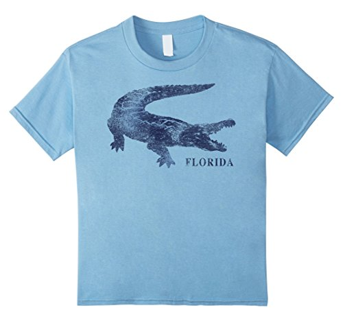 Kids Florida Blue Alligator State Pride Vintage Graphic T Shirt 4 Baby Blue