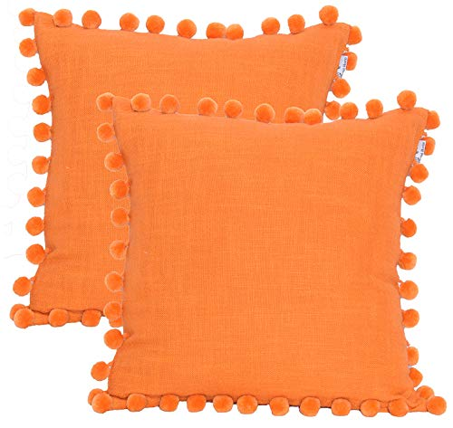 Cotton Slub Textrured Christmas Decorative Cushion Cover,Throw Pillow Case For Home Sofa Couch Chair Back Seat,2pc pack 18X18 inch in Cotton Textured Slub with Velvet Pom Pom in ORANGE Colour . (Orange Pillow Bolster)