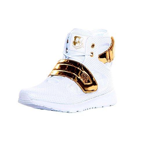 VLADO Footwear Men's Atlas III White/Gold Knitted Mesh High Top Sneaker US 12