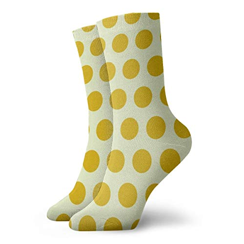 Sunshine Yellow Cream Polka Dot Crew Socks Casual Funny For Sports Boot Hiking Running ()