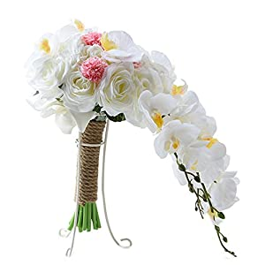 Heartgown Phalaenopsis Waterfall Artificial Wedding Bunch of Flowers Real Touch Silk Holding Bouquets add Figure Shape for Brides 62