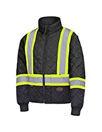 Pioneer V1170170-L High Visibility Quilted Freezer Jacket, Black, L
