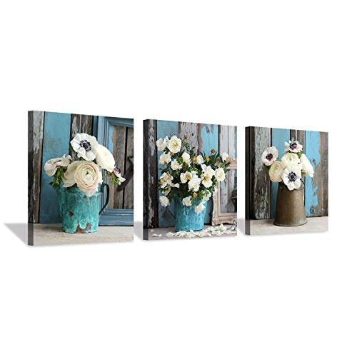 Flower Artwork Botanical Canvas Prints: Bouquet of Mixed Windflower in Rustic Vases, Wall Art Set in White & Yellowish for Wall Decor