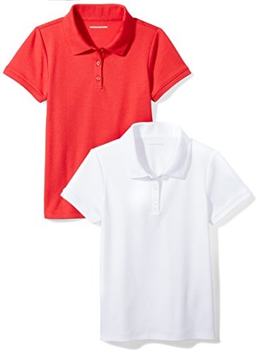 Amazon Essentials Little Girls' Uniform  Interlock Polo, White/Red, S (6-7) ()