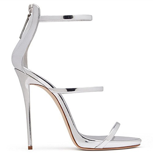 Zapatos de mujer color caramelo sandalias hebilla banda de pie sandalias de tacón alto Street Stilettos simple verano GAOLIXIA Plata