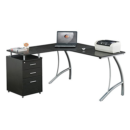 Techni Mobili L Shaped Desk in Espresso (Curved Computer Desk)
