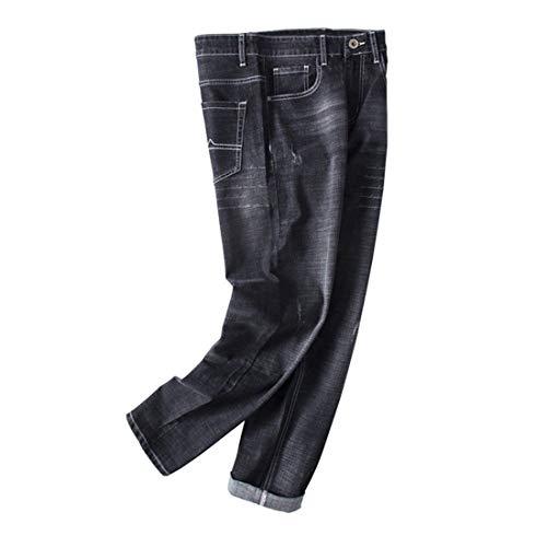 Stazsx Pantalones Rectos Flojos de Gran tamaño de los Hombres de Jeans Pantalones Rectos Flojos de Gran tamaño de los Pantalones Vaqueros gordos Jovenes Negro