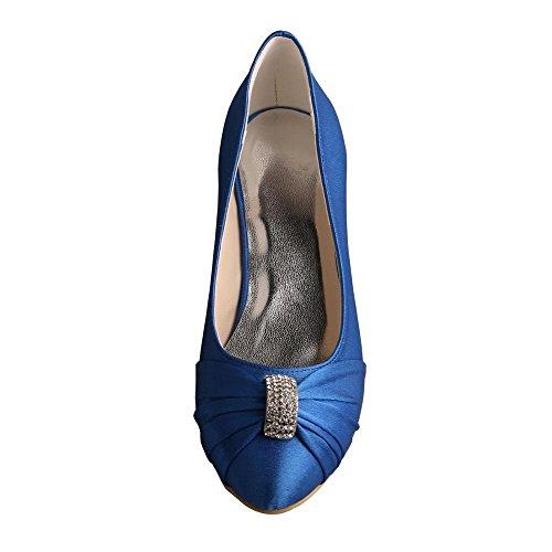 Wedopus MW643A Women's Pumps Satin Rhinestones Closed Toe Mid Heel Wedding Party Dress Groom Shoes Blue ThHpjScAff