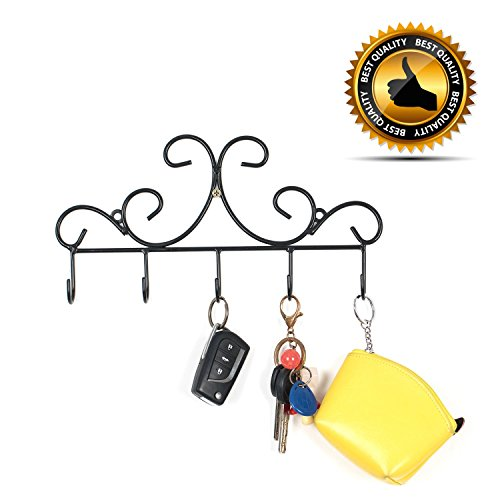 Wall Mounted Metal Hooks/Hangers - Door Hangers/Hooks - Decorative Organizer Rack with 6 Hooks for Keys Clothes Coats Hats Belts Towels Scarves Pots Cups Bags Kitchen Bathroom Garden (Black) (LSYY001) Decorative Hanger