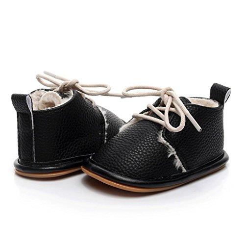 Janly Boy Girl Mokassins Krippe Schuhe 0-2 Jahre Baby PU Erste Wanderer Newborn Rutschfeste Schuhe Schwarz