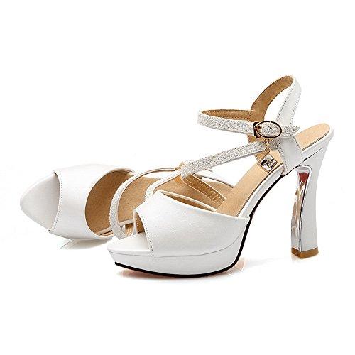 BalaMasa Womens Sandals Peep-Toe No-Closure Ankle-Wrap Fashion Fabric Urethane Cushioning Huarache Sandals ASL04558 White 0j8qAWOS