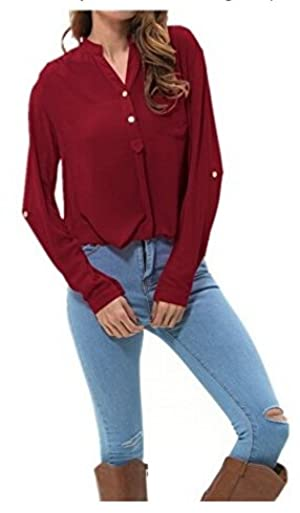Meaneor Women's Casual V Neck Chiffon Blouses Long Sleeve Loose Tops Shirt