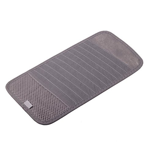 HitCar Car CD DVD Holder 12 Disc Storage Case Organizer Sun Visor Sunshade Sleeve Wallet Clips (Grey Color)