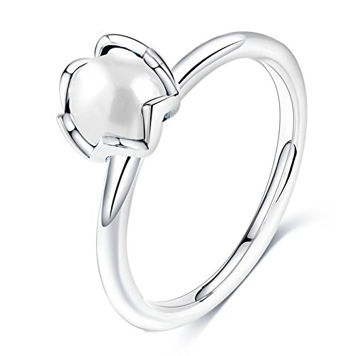 Elegant Flower Ring with White Pearl Solitaire Ring Thin Band Size 6 - White Flower Pearl Ring