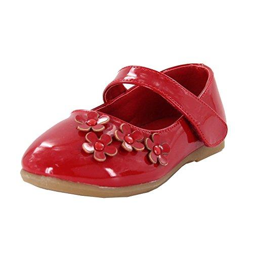 Maxu PU Girls Dressy Mary Jane Flats with Flowers,Red,5.5M U