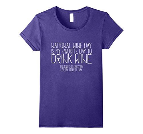 Womens National Wine Day T-Shirt Medium Purple