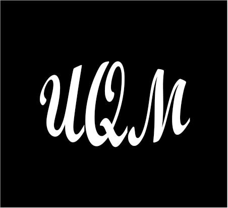 6  White Monogram 3 Letters Uqm Initials Bold Font Script Style Vinyl Decal For Cup Car Computer Any Smooth Surface