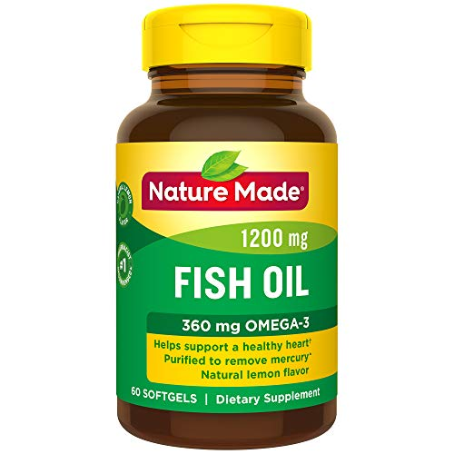 Nature Made Fish Oil 1200 mg Softgels with Natural Lemon Flavor, 60 Count (Packaging May Vary)