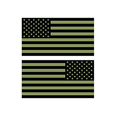 Reverse and Forward Facing Subdued OD Green American Flag Stickers FA Graphix Vinyl Decal USA US America Flags Stars and Stripes: Automotive