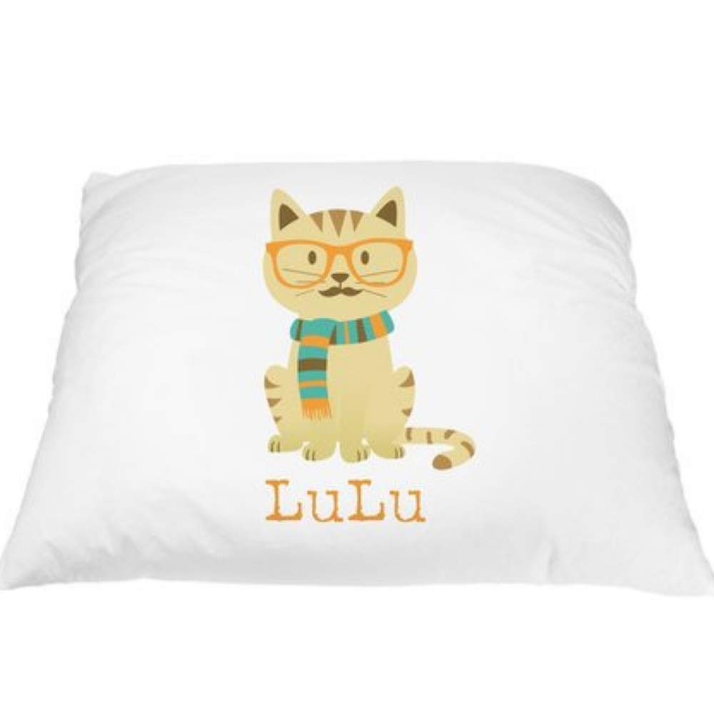 Pillows2 Personalized Kid's LuLu Hipster Pillowcase Microfiber Polyester Standard 20 by 30 Inches, Cat Pillowcase, Kitty Pillow, Cute Cat Pillow for Little Girls Room Décor, Kitten Pillow